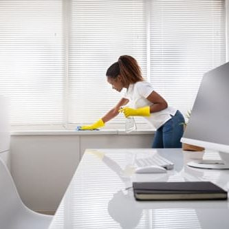 Woman Cleaning The Window Sill In Office